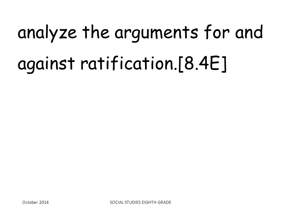 analyze the arguments for and against ratification.[8.4E]